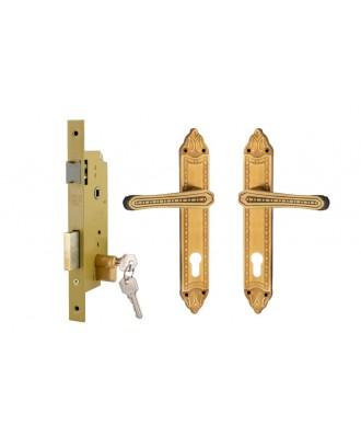 Door Lock Set - Yellow - 40mm with Cylinder